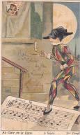 21207 Chocolat De Guyenne. Chanson Au Clair De La Lune. 4 Sujet 3ieme Couplet ; Arlequin 6x10cm