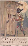 21208. Chanson Au Clair De La Lune. 4 Sujet 3ieme Couplet ; Arlequin 6x10cm -magasins Pont Neuf.
