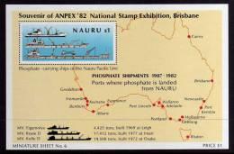 "Nauru - 1982 - Phosphate Shipments/""Anpex 82"" Stamp Exhibition Miniature Sheet - MNH - Nauru"