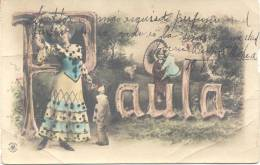 MARIA BEATRIZ TELLECHEA EN 1904 LE ENVIA ESTA HERMOSA POSTAL CON SU NOMBRE A PAULA MALLET EN LA LOCALIDAD DE CORREA RARE - Voornamen
