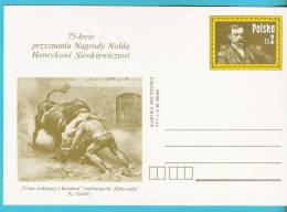 Poland 1980.postcard Entire H.Sienkiewicz Writer Nobel Prize Prix Bison Painting Peinture - Nobel Prize Laureates
