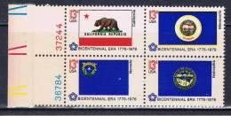 USA 1976 Mi 1233-34 1238-39 Mnh Fahnen Mit Plattennummern - United States