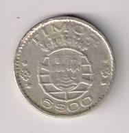 D1 Timor 6 Escudos 1958. KM#15 Silver Argent Ag - Timor