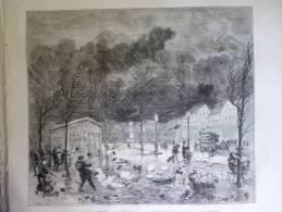 L'ouragan Du 10 Novembre 1875 A Paris , Vue Prise Au Carrefour De L'Observatoire , Gravure De Trichon 1875 - Documents Historiques
