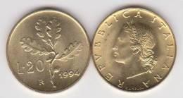 ITALIA    20 Liras 1.994  Aluminio Bronce KM#97.2 SC/UNC    DL-10.267 - 1946-… : Republiek