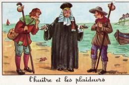 L'HUITRE ET LES PLAIDEURS JEAN DE LA FONTAINE ,ILLUSTRATION CALVET ROGNIAT - Fiabe, Racconti Popolari & Leggende