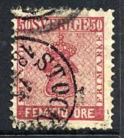 SWEDEN 1860 50 öre Carmine, Fine Used..    Michel 12a - Sweden