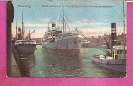 HAMBURG   -   ** BAAKENHAFEN - EINSCHLEPPEN EINES WOERMANNDAMPFERS **    -   Verlag : W.F. Aus HAMBURG   N°/ - Altona