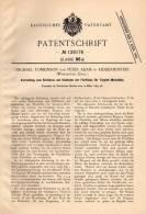 Original Patentschrift - M. Tomkinson In Kidderminster , Worcester , 1899 , Apparat Für Teppich - Webstuhl , Weberei !!! - Tools