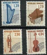 """FR Préo YT 202 à 205 """" Instruments De Musique """" 1989 Sans Gomme - Precancels"""