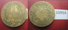 Tunez  1 Franco 1921  , Tunisia - Monedas