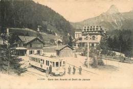 SWITZERLAND - GARE DES AVANTS ET DENT DE JAMAN - TRAIN, CONDUCTOR, PASSENGERS - UNDIVIDED  V/F VINTAGE ORIGINAL POSTCARD - VD Vaud