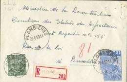 Affr. Industrie à 5Fr.75 (1 T. Déf.) Obl. Sc PLOMBIERES S/L. Recommandée Du 26-08-1950 (cantons De L'Est) Vers Bruxelles - Unclassified