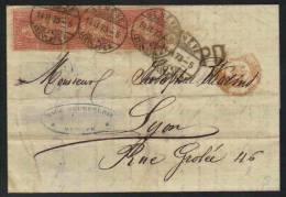SUISSE - GENEVE / 1873 PLI POUR LYON (ref 3722) - 1862-1881 Zittende Helvetia (getande)