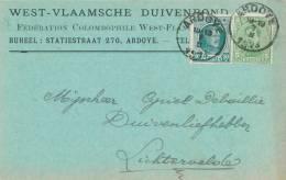 155/20 - Carte Privée TP Albert + Houyoux ARDOYE 1923 - Entete Duivenbond / Fédération Colombophile - Pigeons & Columbiformes