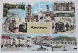 REMIREMONT - 88 - Multivues : Eglise; Place; Arcades;Statue...Belle CPSM Bords Dentelés. - Remiremont
