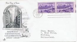 L-US-44 - ETATS-UNIS FDC Pour La Suisse De Kansas City 1950 Missouri Centennial - Cartas