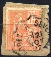 1900 TYPE II  MOUCHON YT N° 117  Oblitere Cachet AMBULANT FRANCE RODEZ A SEVERAC - Gebruikt