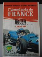 Programme 1er Grand Prix De France De Formule 1 Rouen Les Essarts 1968 - Programmes