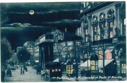 CPA Paris La Nuit, Boulevard Et Porte St Martin (pk6052) - Parijs Bij Nacht