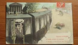 France - Train - ´´J´arrive à Paris, Et Vous Envoie Le Bonjour... ´´ En 1908 - Colorisée - Trains