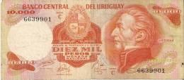 BILLETE DE URUGUAY DE 10000 NUEVOS PESOS  (BANKNOTE) - Uruguay