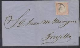 R)1868 PERU 1 DINERO CIRCULATED COVER FROM LIMA TO TRUJILLO NICE. - Peru