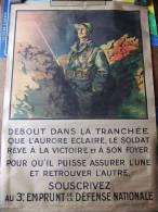 AFFICHE PATRIOTIQUE PROPAGANDE EMPRUNT GRANDE GUERRE 1914 1918 POILU TRANCHEE 226 REGIMENT INFANTERIE - 1914-18
