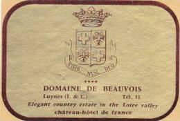 FRANCE LUYNES DOMAINE DE BEAUVOIS CHATEAU HOTEL DE FRANCE VINTAGE LUGGAGE LABEL - Hotel Labels