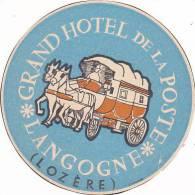 FRANCE LANGOGNE GRAND HOTEL DE LA POSTE VINTAGE LUGGAGE LABEL - Hotel Labels