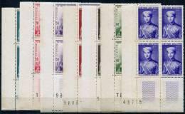 VIET NAM 1954 - Sc.20-26 (Mi.91-97, Yv.22-28) Compl. Set Of Seven 4-bl Corners (with Numerals) MNH (postfrisch) All VF - Vietnam