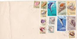 KENYA : Lettre 22 X 11 Cms. Oblitérée Le 18 Fèvrier 1977 - Coquillages - Kenya (1963-...)
