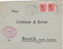 Denmark 1920 King Pair 10 0re On Cover - Used Stamps
