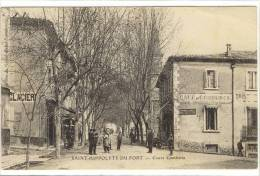 Carte Postale Ancienne Saint Hippolyte Du Fort - Cours Gambetta - Café Du Commerce - Frankrijk