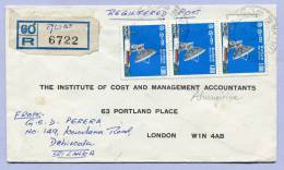 Reko Brief Einschreiben Registered Letter Sri Lanka To London 1976 ( 102 ) - Sri Lanka (Ceylon) (1948-...)