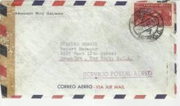 MEXICO CC A USA CON CENSURA MAT MEXICO DF SELLO CORREO AEREO - Mexique