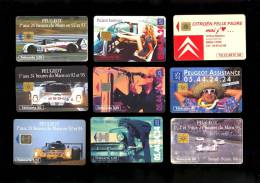 8 Telecartes VOITURE AUTOMOBILE PEUGEOT 905 24H Du Mans Assistance & Citroen Felix Faure Lyon 320000ex - Automobili
