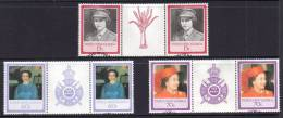 Papua New Guinea 1986 Queen's 60th Birthday 3 Gutter Pairs Used - Papua New Guinea