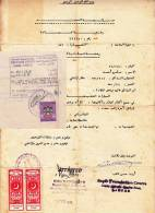 UAE And Pakistan Revenue Stamps Cancelled On The Same Document From Front & Back ,  (red 115) - United Arab Emirates