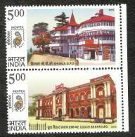 INDIA, 2010, Postal Heritage Buildings Of India, Setenant, Vertical, Shimla And Cooch Behar,   MNH, (**) - Post