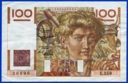 BILLET FRANCAIS RARE 100 FRANCS JEUNE PAYSAN TYPE 1945 FILIGRANE INVERSE C.1-10-1953 E.559 N°26696 - NOTRE SITE Serbon63 - Errores