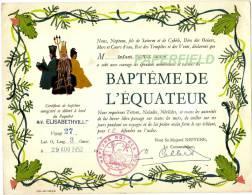 """Certificat De """"Baptême De L'Equateur""""  Paquebot M.V. ELISABETHVILLE 1952 ( Vers Le CONGO BELGE ??) - Documents Historiques"""