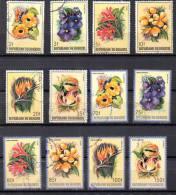 Burundi 1986,  Fleurs D'Afrique, 944 / 949 + PA553 / 558 Ø , Cote  72 €, - 1980-89: Oblitérés