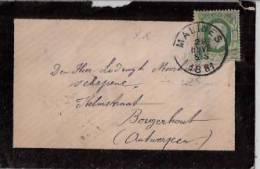BELGIQUE : 1881:N°30 Sur Lettre (carte De Visite.),Oblit.MALINES Pour BORGERHOUT(Antwerpen.);verso Oblit.Anvers. - 1869-1883 Léopold II