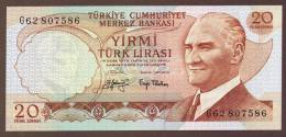 TURKEY 20 LIRA  1974  ALPHA G62   UNC - Turquie