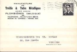 PLOMBIERES  GEMMENICH  MONTZEN  Carte De Commande 1958, Manufacture De Treillis Et Toiles Métalliques (209) - Plombières