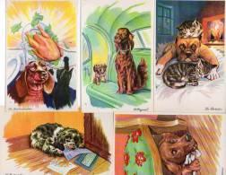 Carrière Animaux Chien Chat X 5 - Avarice, Orgueil, Curiosité, Gourmandise, Paresse - Carrière, Louis