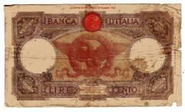 BILLET ITALIE - P.55b - 100 LIRES - 20/02/1941 - AIGLE - LOUVE ROMAINE - [ 1] …-1946 : Royaume