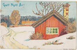 CPA SUEDE SWEDEN SVERIGE Souvenir Fantaisie GOtt Nytt Ar Tinted  Timbres Stamps 1917 - Sweden