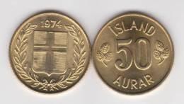 Islandia 50 Aurar 1.974 Niquel Latón KM#17 SC/UNC       T-DL-10.288 - Islandia